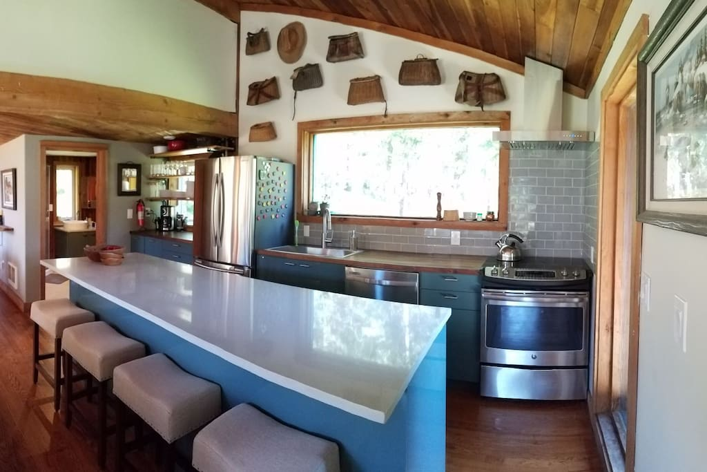Kitchen with 9 foot eat-in island.