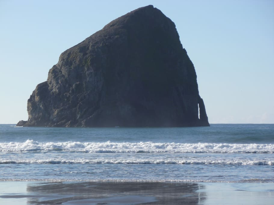 View of Haystack rock on the best beach in Oregon