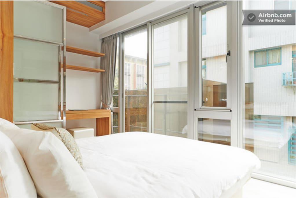 bedroom + balcony