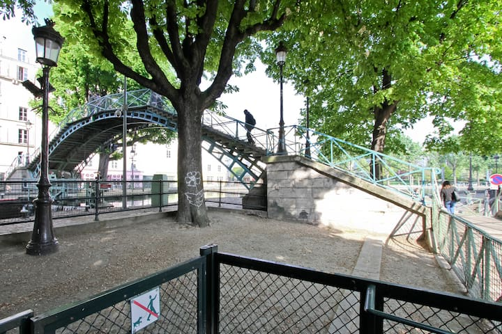 Bridge over Canal Saint-Martin, 160 ft from our condominium