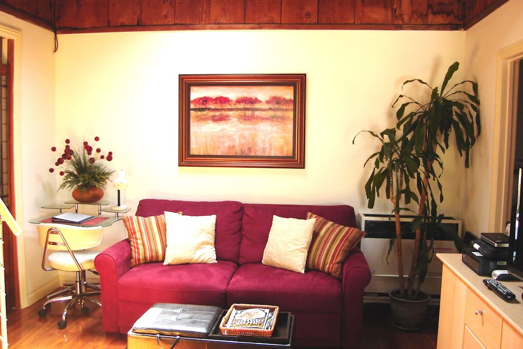 High end queen sleeper sofa in living room area