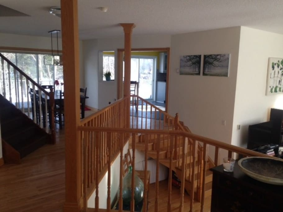 Main entrance, living room to right, dining room straight and kitchen to corner.  Very open and large