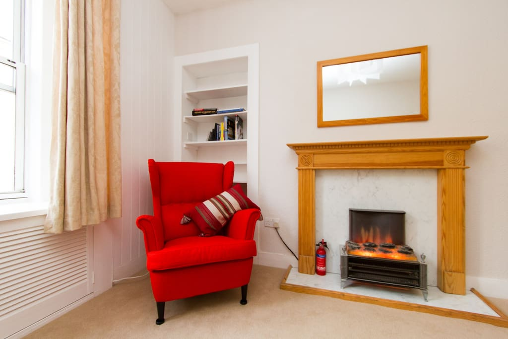 There's a comfortable reading corner in the living room, we try to keep a selection of books on hand