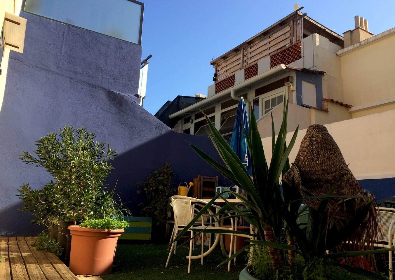 Le Studio donne sur ce petit jardin en copro, au murs bleu Klein! Parfait pour les pt'its dèj et Apéros!