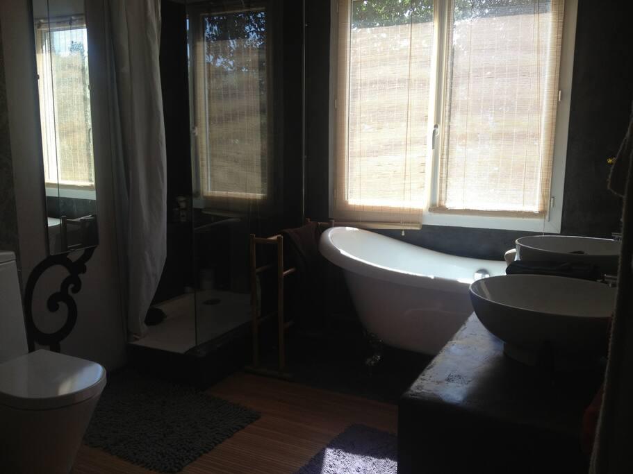 douche , baignoire et double vasques