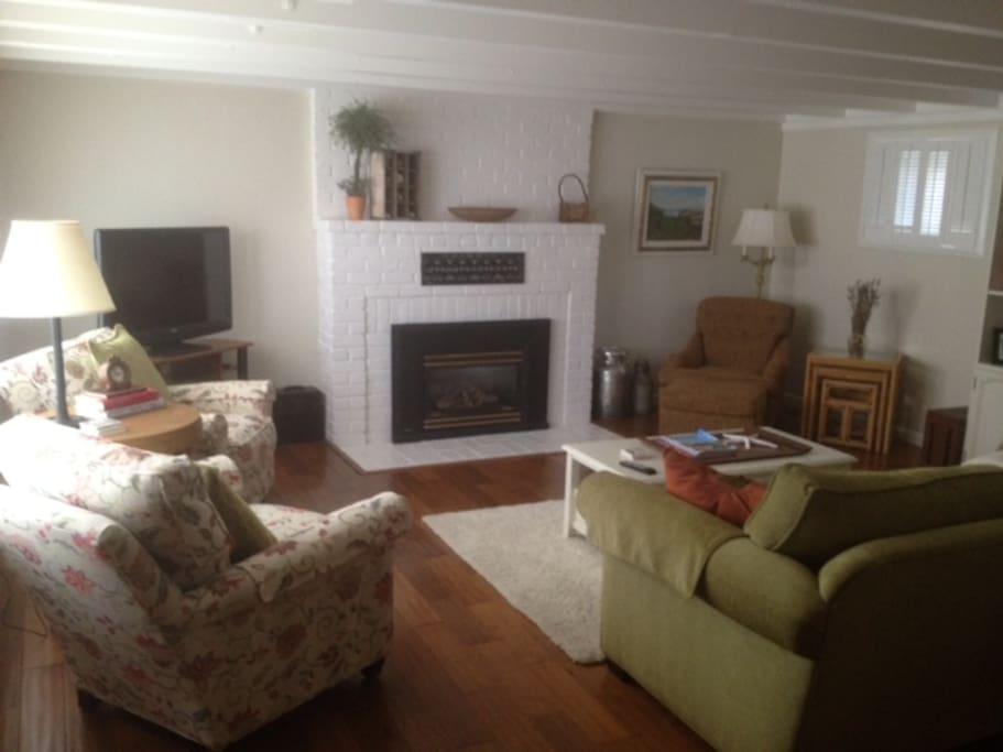 The downstairs family room with cable TV a fireplace plus games to play.