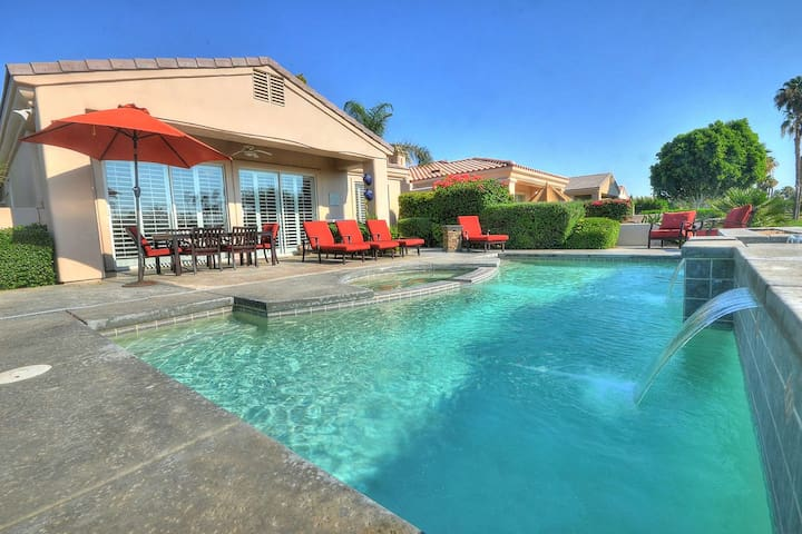 Breathtaking Golf Course Views! PGA West Palmer Course Home, Waterfall Pool/Spa & Casita, Fireplace
