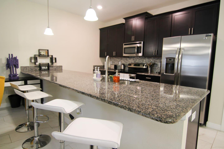 Spacious brand new kitchen.
