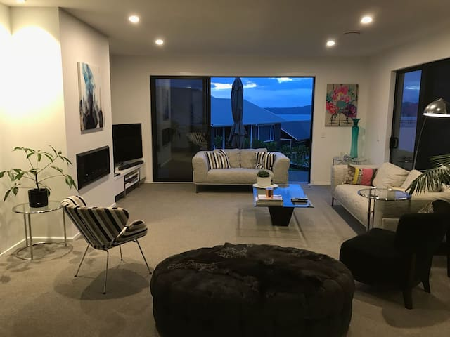 Living room overseeing Lake Taupo