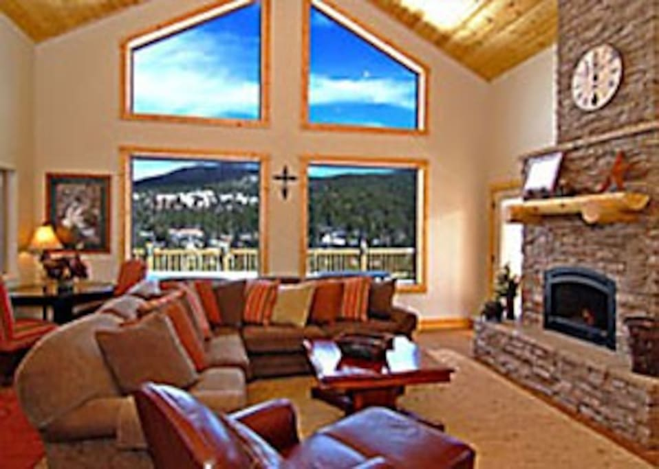 Living Room with Fireplace and beautiful view