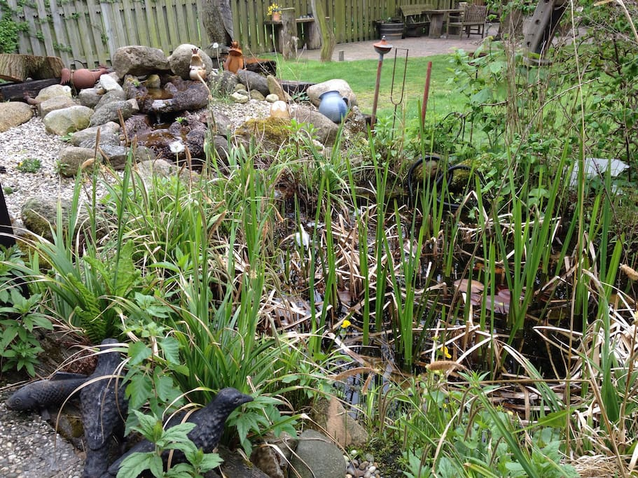 Der Gartenteich mit seinem plätschernden Bachlauf