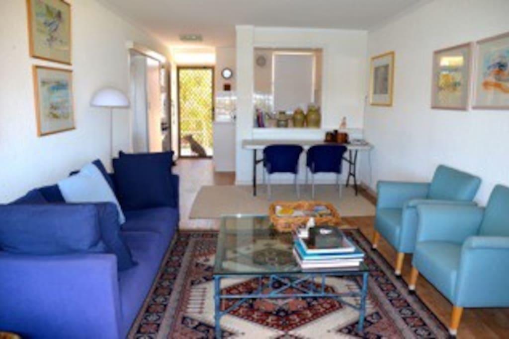 Vibrant living area.