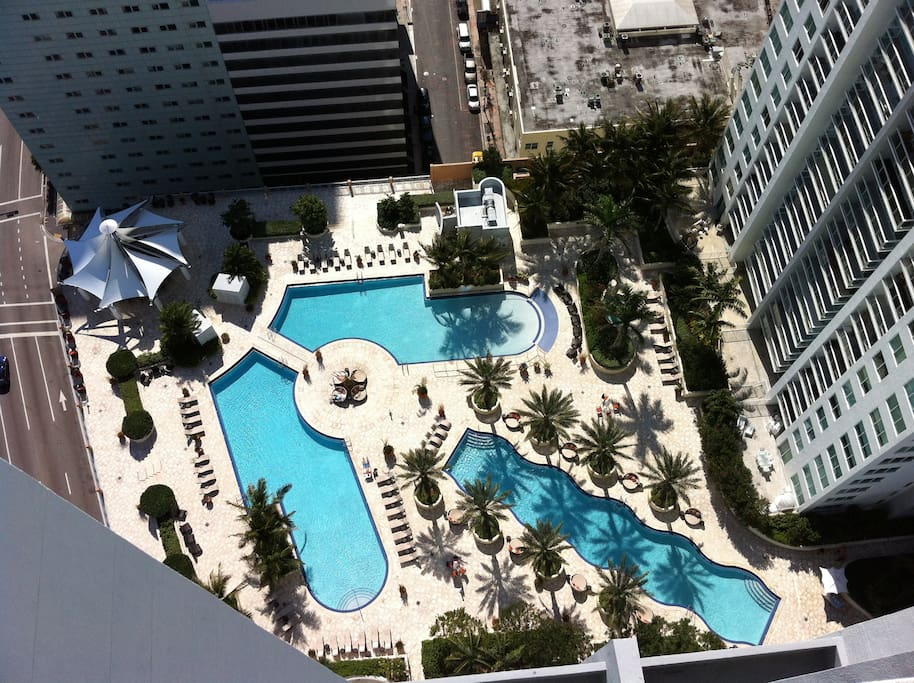 View of 3 pools  from the 37th floor of the apartment