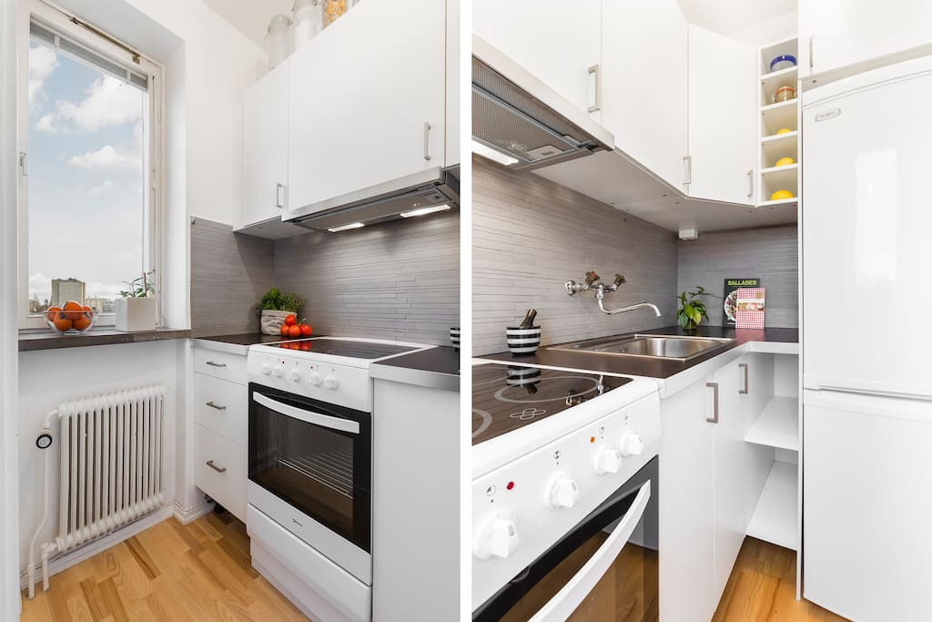 Complete kitchen with oven, fridge, freezer, and microwave oven