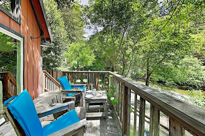 New Listing! Creek-Side Hideaway w/ Loft & Deck