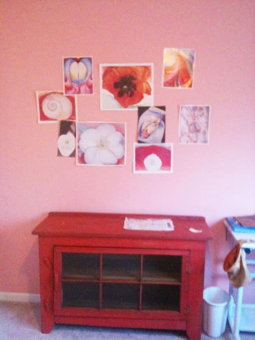 a nice little red chest, and a future georgia o'keefe collage on the wall with pins, waiting to happen...!