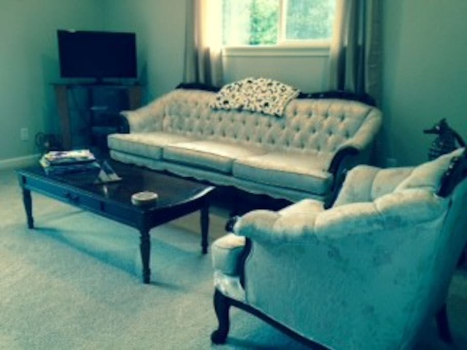 Very comfortable and well appointed living room, with a large new TV
