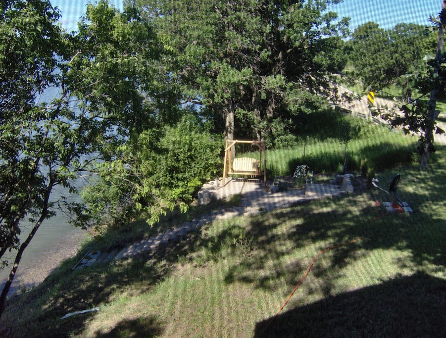 View toward the lake from the screened porch