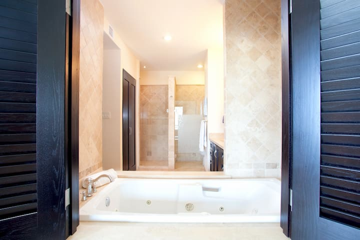 Jacuzzi tub opens to master bedroom