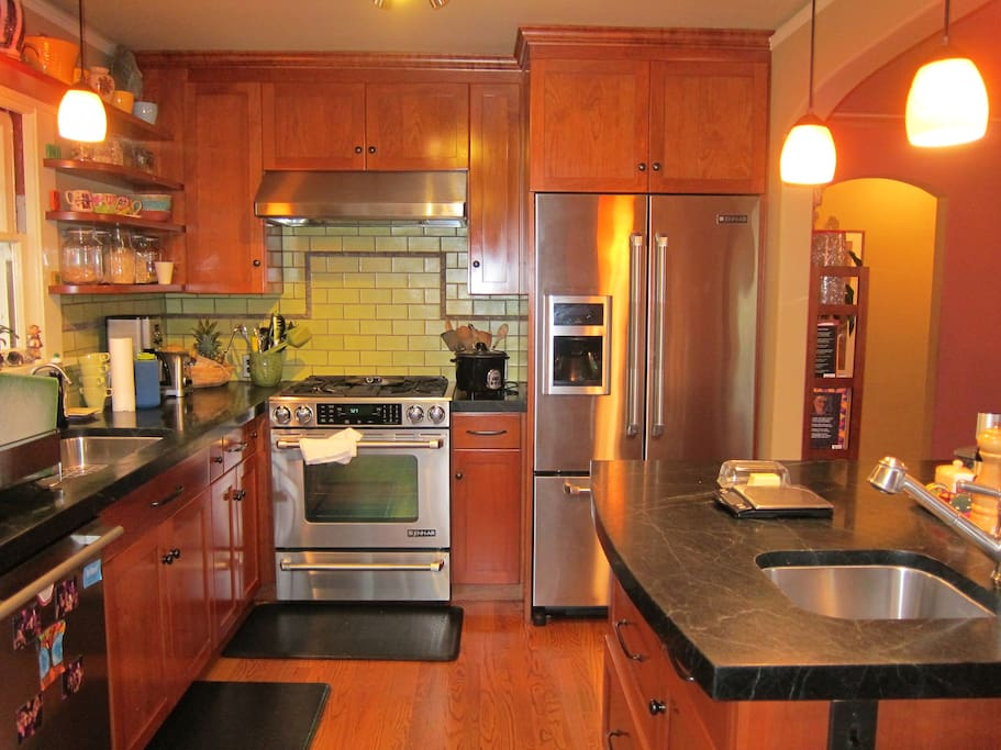 Soap stone counters; all stainless steel appliances