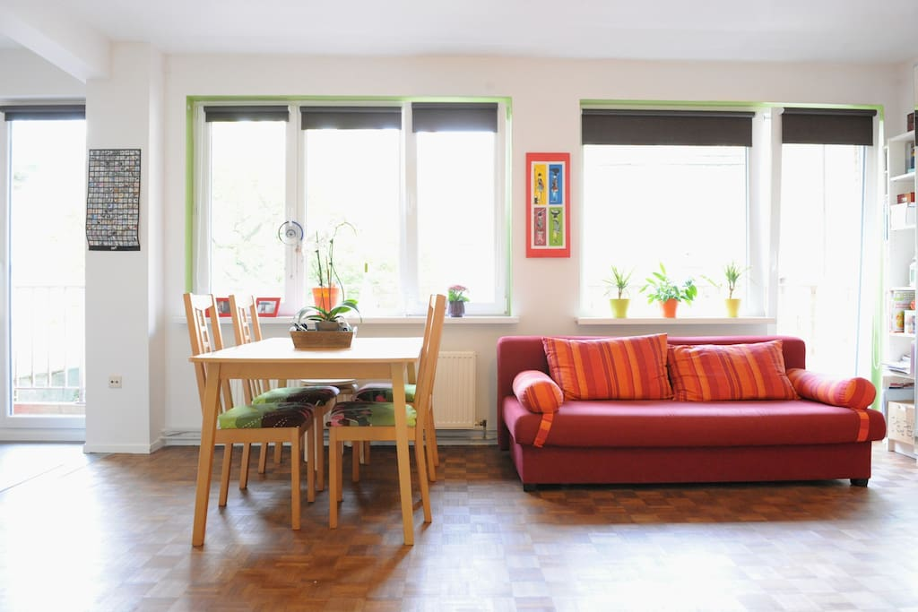 Bright and colourful living-room