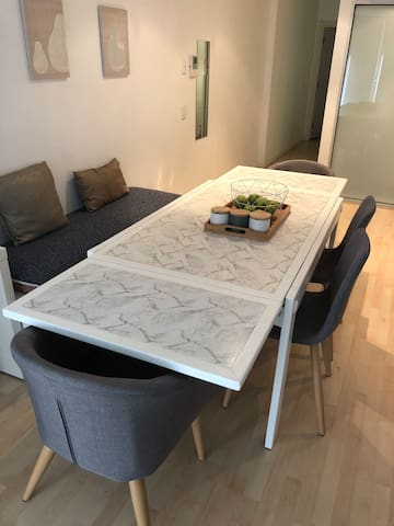 Dining room table can extend to comfortable seat 6-10 guests. Very handy around the holidays!