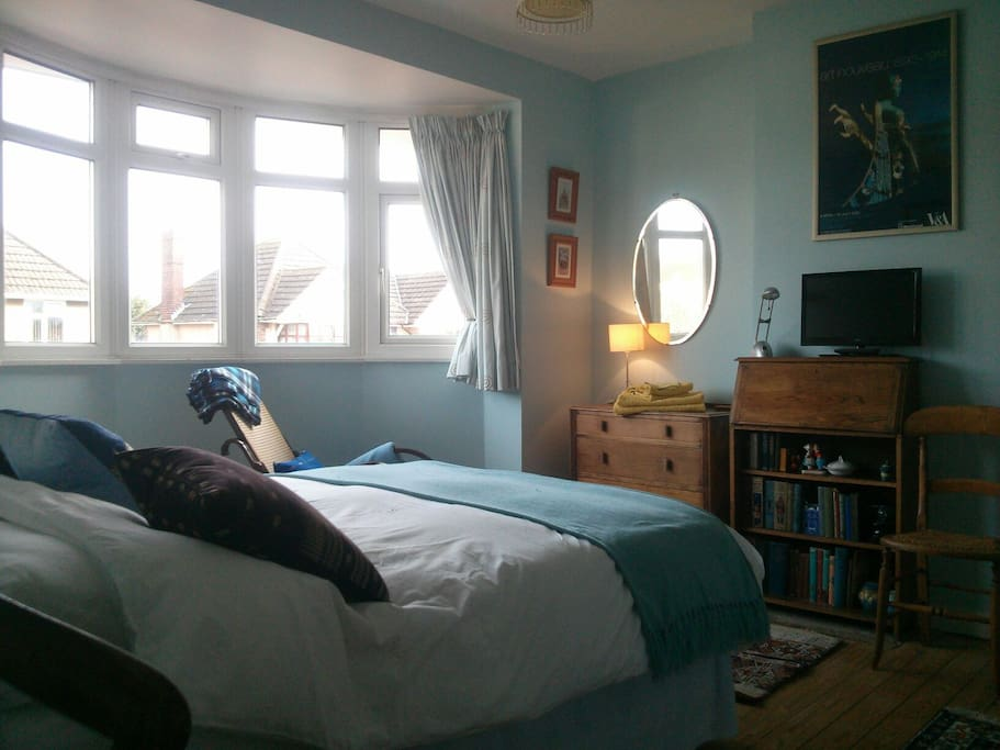 View of the room, the  bay window means lots of natural light.