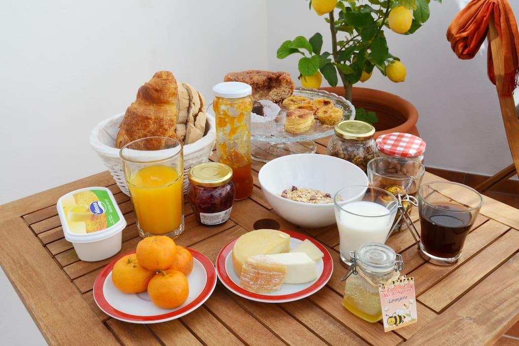 Self-service breakfast is included and it looks like this - check the details of the room for more information