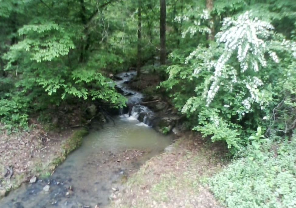 L@@K Private Waterfall and Creek Flows right under the House on 2 acres.  Peaceful, Private & Secluded.