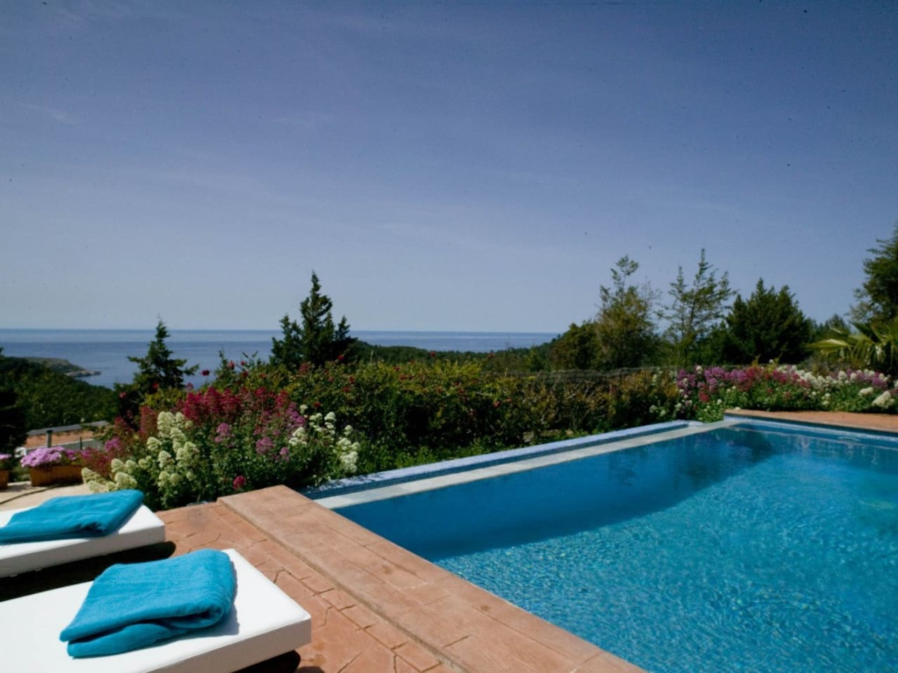Pool area with sea view