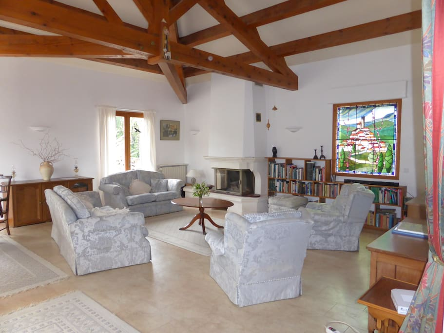 Large comfortable lounge (50sq m) bright and spacious, cosy log fire for those cooler winters evenings.
