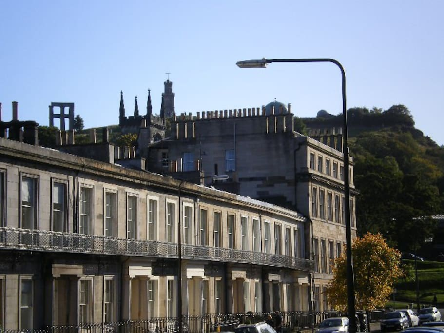 The monuments on nearby Calton Hill at the end of the street