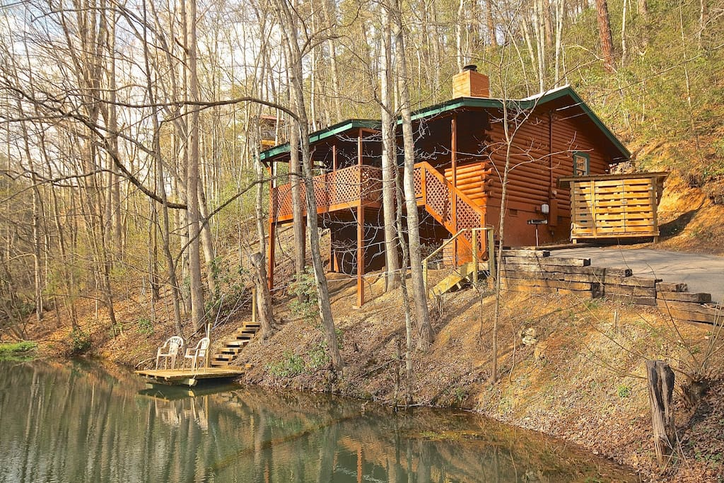 The fishing hole private pond just for 2 cabins for for Fishing in gatlinburg tn