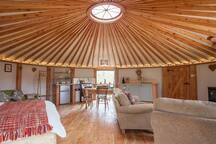 Inside Gwdihw Yurt