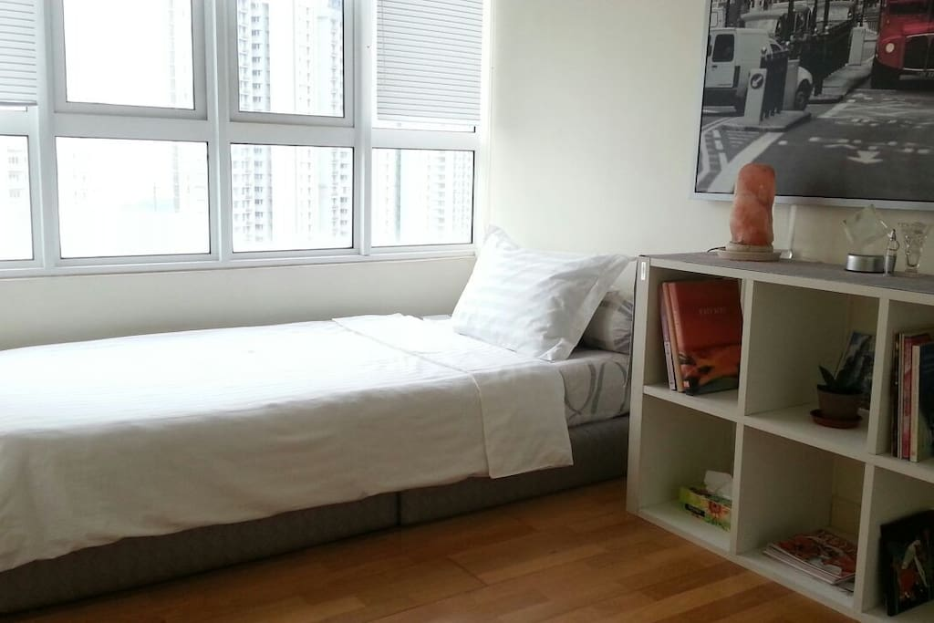 The bedroom comes with a super-single bed