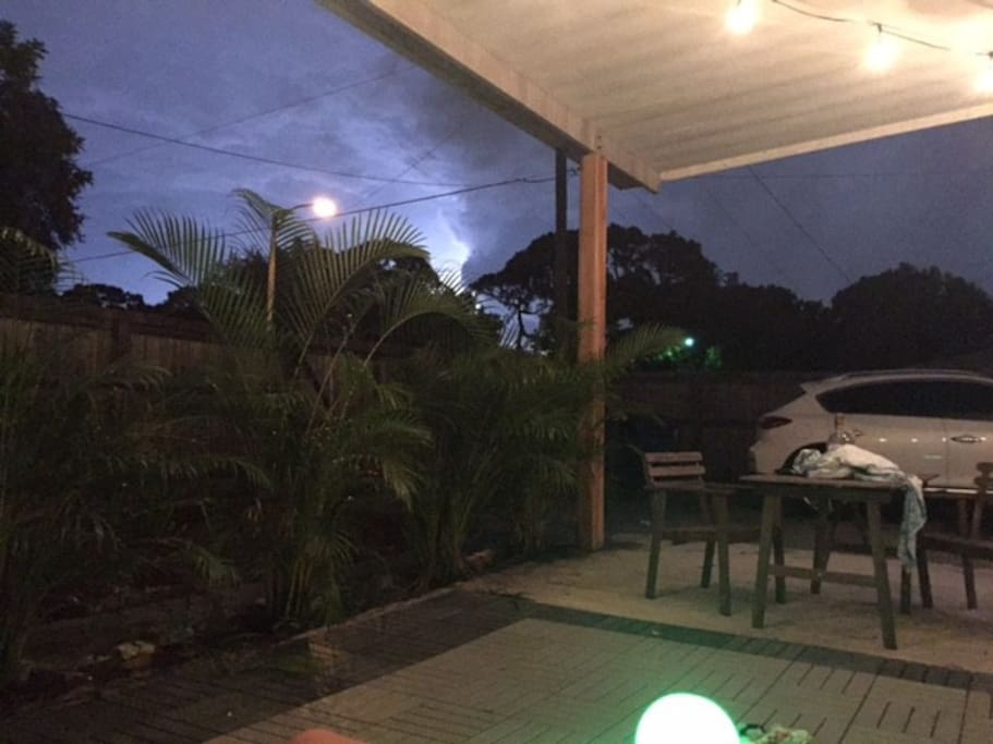 Watching storms from the back patio. Super relaxing back here!
