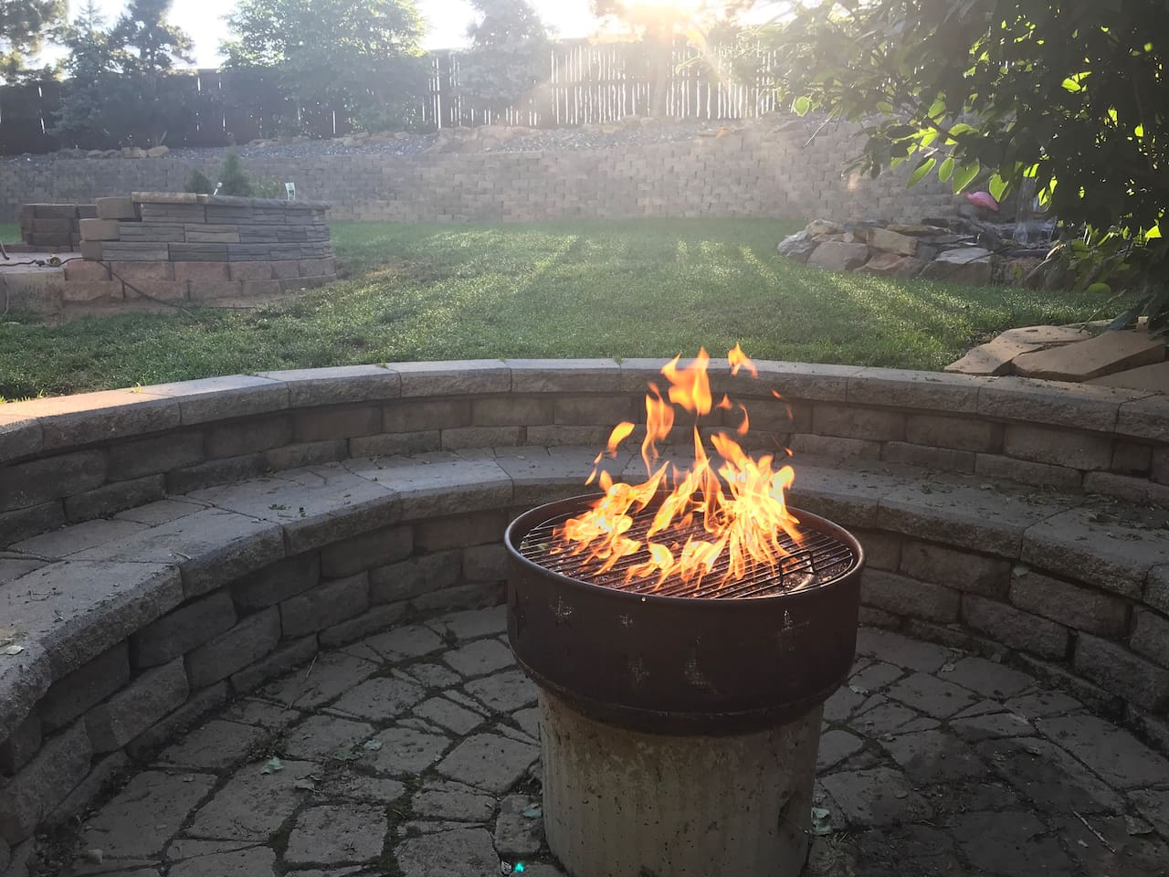 View from the giant natural gas fire pit.  It's great for gathering and making smores in the evening!