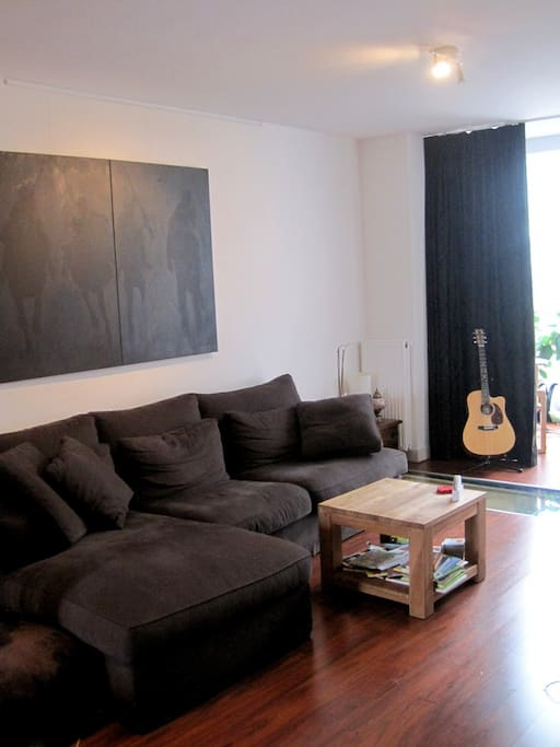 Large living room with comfortable sofa