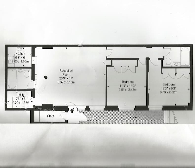 Apartment floor plan (your bedroom and bathroom are on the far right)