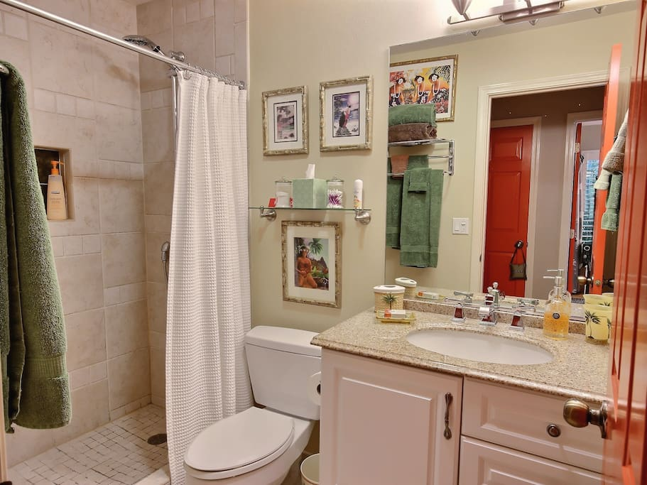 downstairs Beautiful bathroom with oversized tiled shower & granite sink