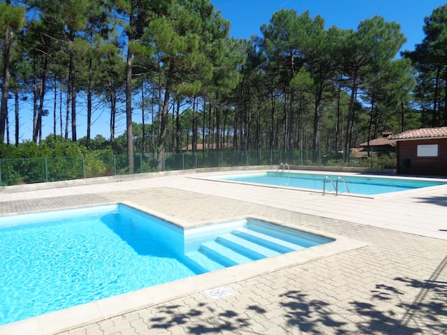 Lacanau : maison sous les pins avec piscine.