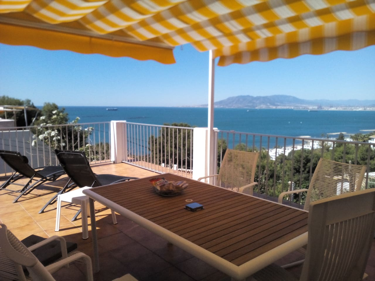 The terrace & the views over Málaga Bay and Costa del Sol