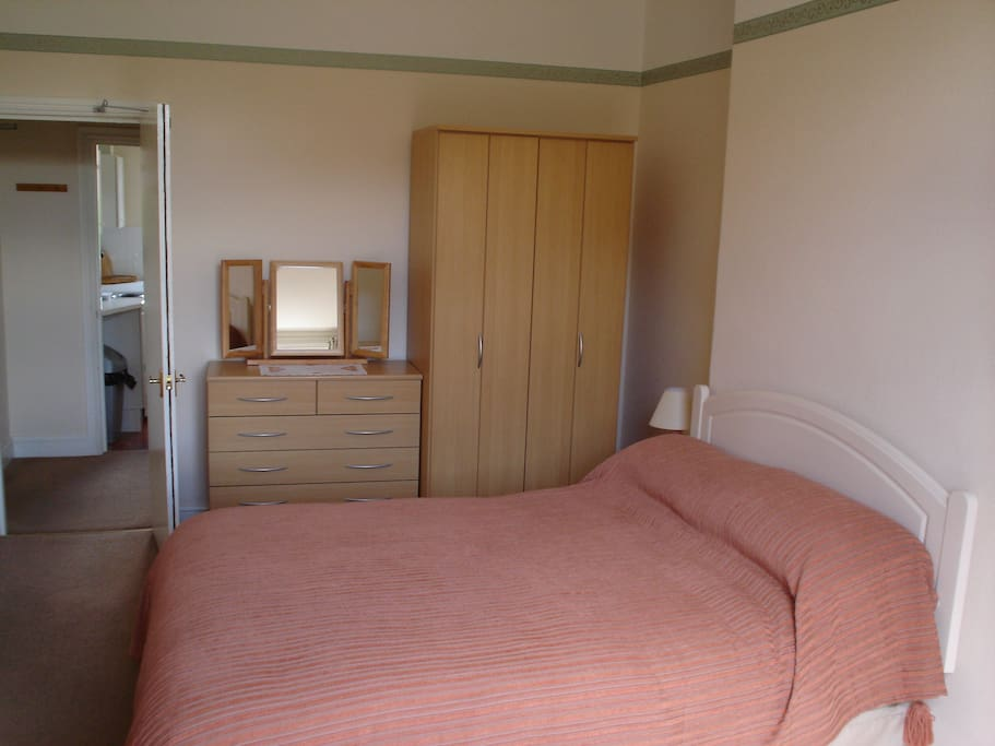 The bed-sitting room has a comfy double bed.