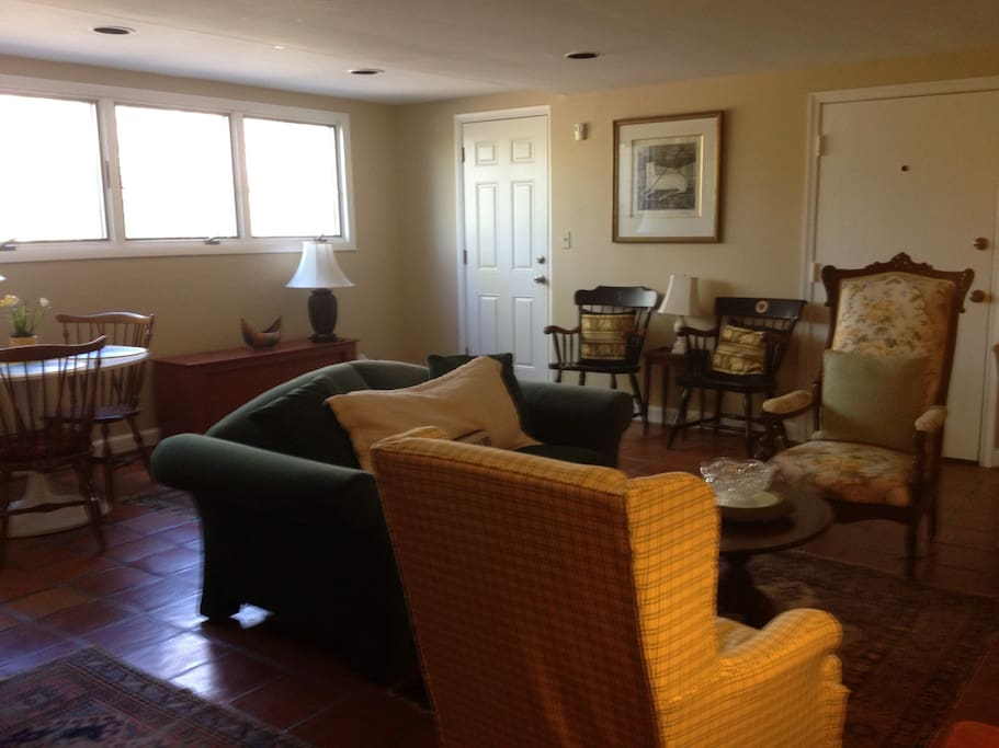 Bright above ground apartment in first floor of house with private entrance. One block access to Pool club during summer.