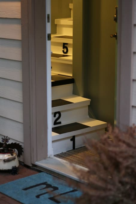 Private entrance and fun numbered stairs up to your suite