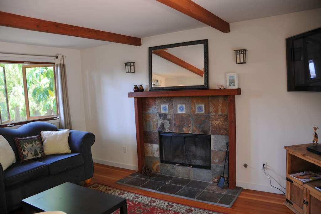 Living room with wood burning fireplace, flat screen TV, DVR