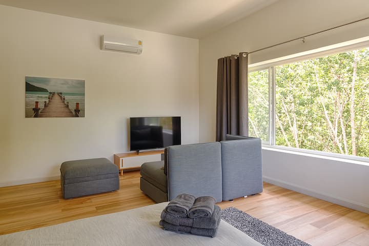 Big airy room with a view