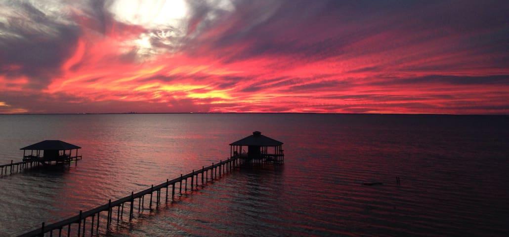 Private Loft Olde Daphne. Sunset over Mobile Bay
