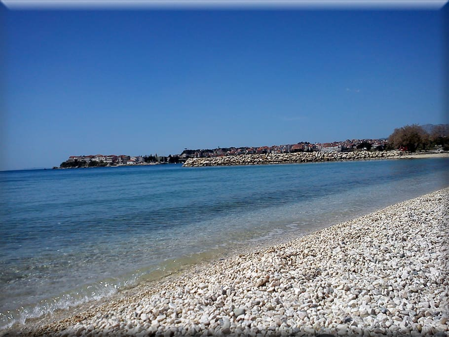 the beach is 1km away, 15-20  minutes walking