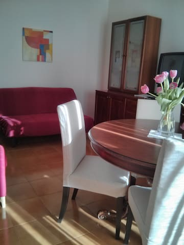 Soggiorno con divano letto 2 posti/Living room with double sofa bed